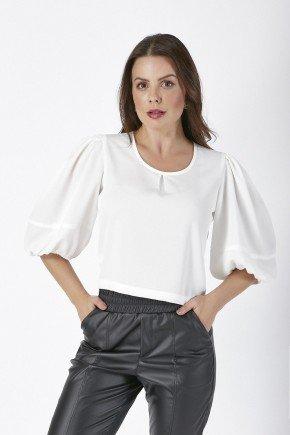 blusa romana off white cloa frente