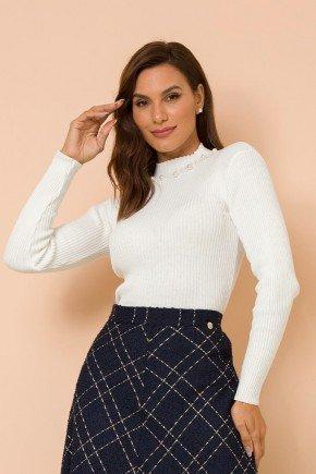 blusa fio trico off white bordada magali lekazis cima