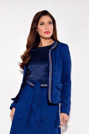 blazer feminino tweed azul titanium jeans cima