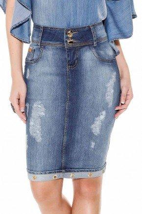 saia jeans detalhe ilhos na barra titanium cima