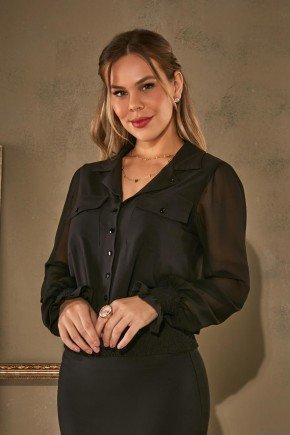 camisa preta com lastex e bolsos frontais via tolentino