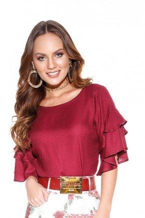 blusa feminina bordo com babados titanium cima