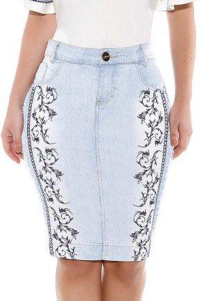 saia jeans clara bordados e desfiados titanium baixo