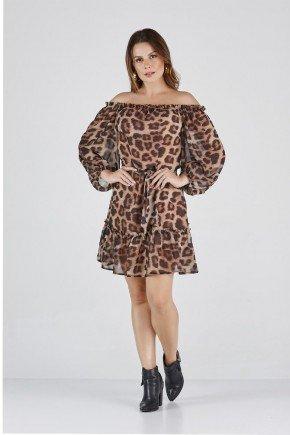vestido ciganinha marrom animal print cloa