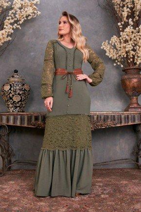vestido longo verde detalhe em renda fascinius