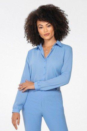 camisa feminina azul manga longa lays