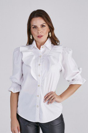 blusa carla off white babados cloa