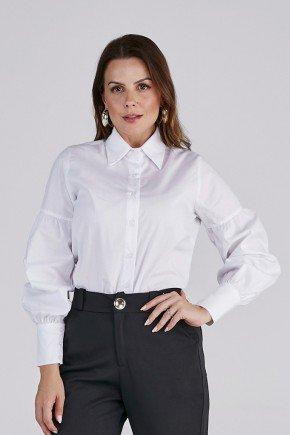 camisa feminina branca manga longa cloa cima
