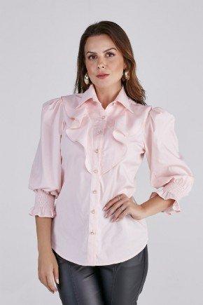 camisa carla rosa babados e detalhe em lastex cloa