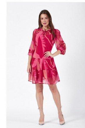 vestido monalisa estampado babados detalhe amarracao cloa