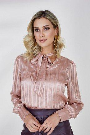 camisa rose gola laco amelie cloa cima