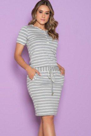 vestido listrado mescla claro manga curta modelo