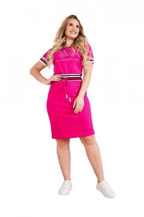 vestido pink canelado detalhes em ribana fascinius