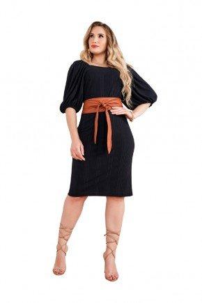 vestidos preto em malha mangas 34 bufante fascinius