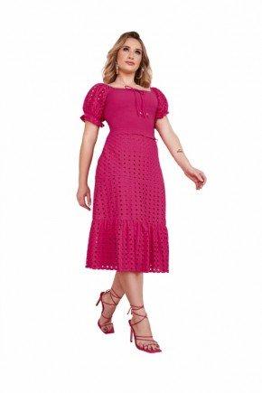 vestido pink em lesie com babados fascinius
