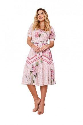 vestido rosa gode midi estampado fascinius