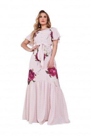 vestido rosa longo estampado com faixa fascinius