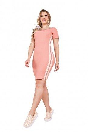 vestido tubinho rose canelado com strass fascinius