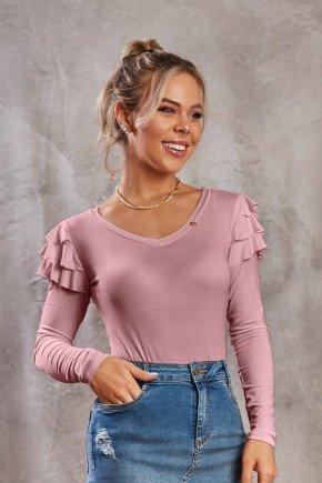 blusa decote v com babadinhos na manga rose via tolentino cima