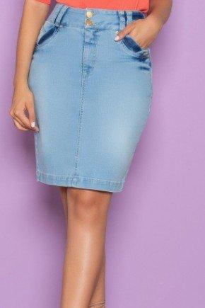 saia secretaria jeans claro com bolso funcional