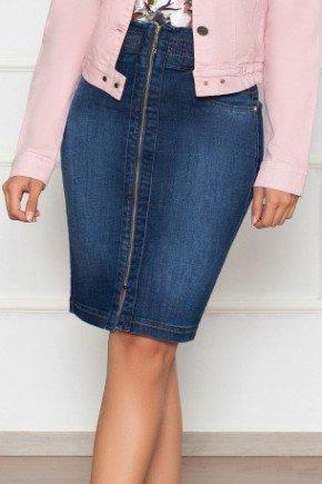 saia jeans com ziper frontal