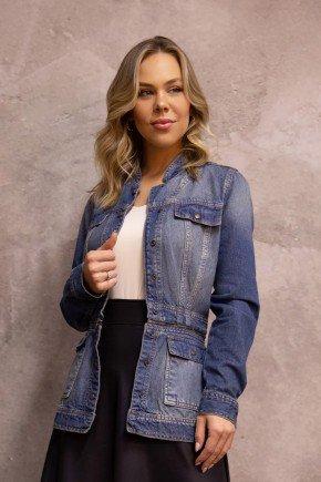 jaqueta jeans ziper na cintura via tolentino cima