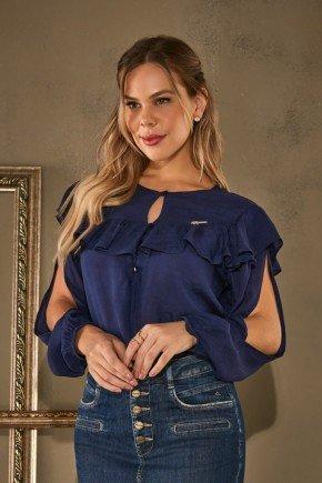 blusa azul babados e abertura nas mangas via tolentino