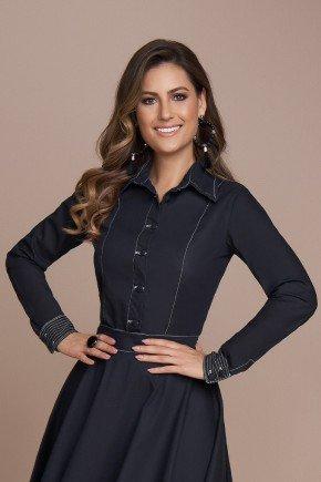 camisa feminina jaqueta jeans preto titanium cima