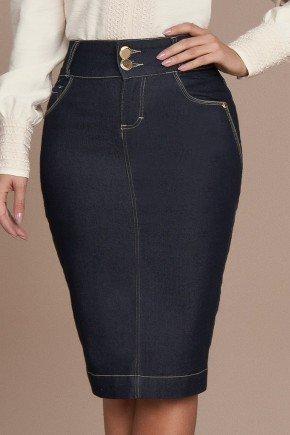 saia azul marinho costuras aparentes titanium jeans baixo