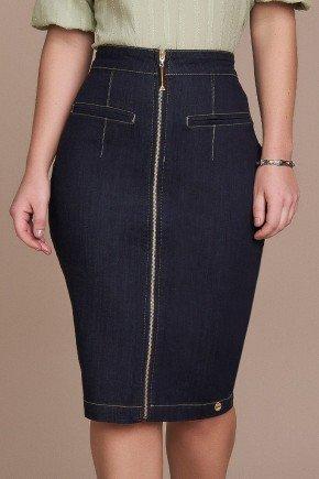 saia lapis jeans ziper inteirico titanium baixo