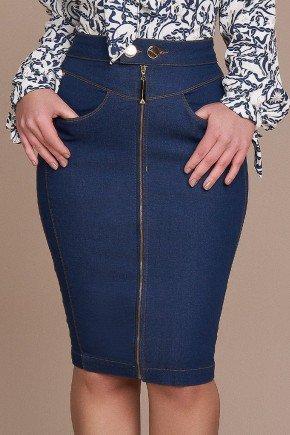 saia lapis azul ziper inteirico titanium jeans baixo