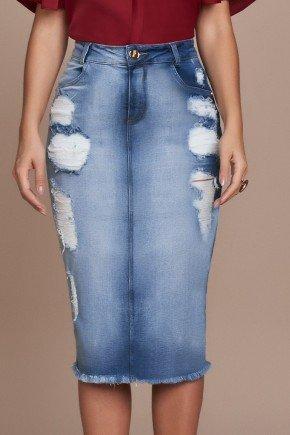 saia jeans sustentavel destroyed barra desfiada titanium baixo