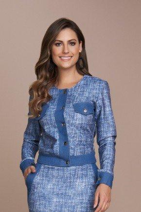 jaqueta azul sarja estampa exclusiva titanium jeans cima