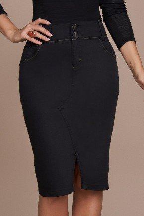 saia jeans preto recorte diferenciado frontal titanium baixo