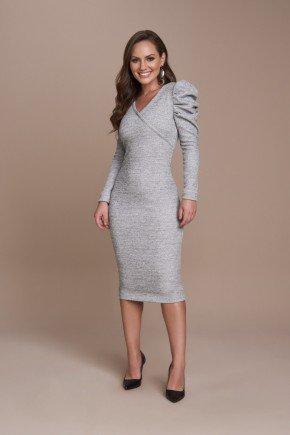vestido prata malha lurex mangas bufantes titanium