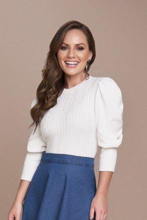 blusa tricot off white manga longa bufante titanium cima