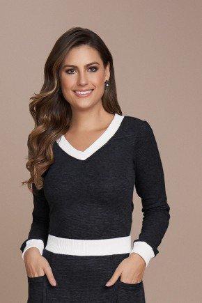 blusa preta malha comfy titanium jeans cima