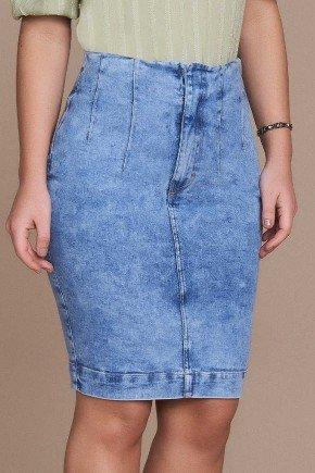 saia lapis jeans vista escondida e detalhe em nervuras titanium baixo