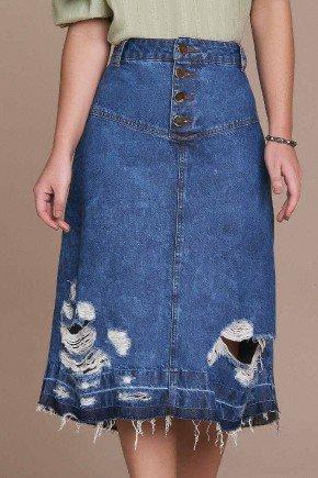 saia evase jeans destroyed barra desfeita titanium baixo