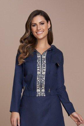 jaqueta feminina jeans com capuz detalhe corrosao titanium cima