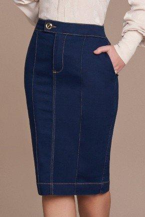 saia alfaiataria detalhe em nervuras titanium jeans baixo