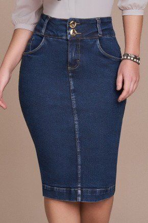saia tradicional jeans azul escuro titanium baixo