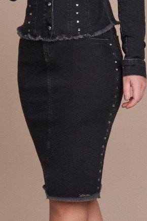 saia jeans barra desfiada detalhe lateral em pedraria titanium baixo
