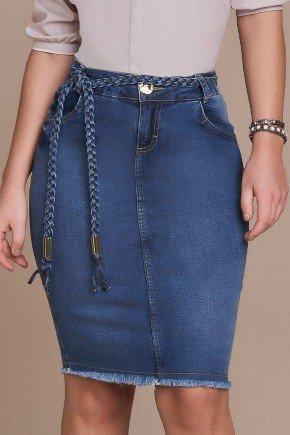 saia jeans barra desfiada cinto trancado titanium baixo