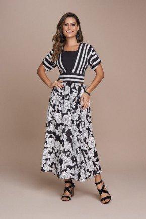 vestido mix de estampa em listras e floral titanium