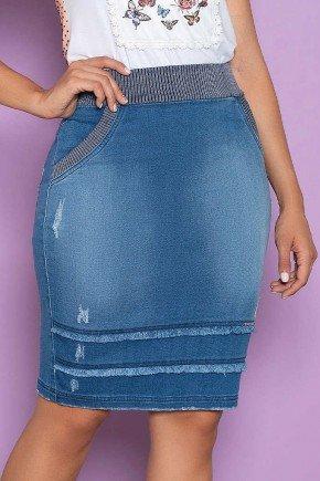 saia em jeans moletom recortes desfiados nitido baixo