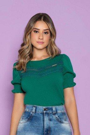 blusa feminina verde detalhe em guippir nitido jeans cima
