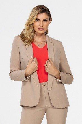 blazer feminino de alfaiataria caqui lenita frente