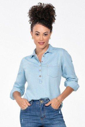 blusa jeans feminina manga longa matilde frente