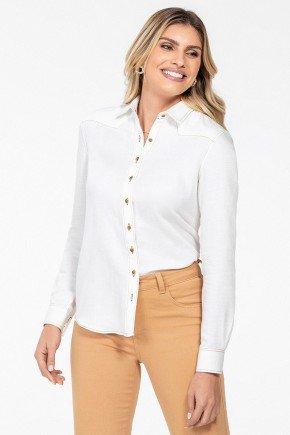 camisa social feminina manga longa milene frente